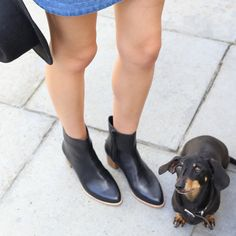 Our Elegant and simple 'Blackbird' Black & Tan Ankle Boot.