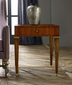 Modern Rosewood End table  One Drawer and Tapered Legs with Brass Detail