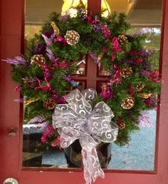 Pink and Purple Holiday Wreath by MaidenLongIsland on Etsy