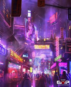 "cyberpunkpixeljunk: "" Bottom Level Street by M3-f """