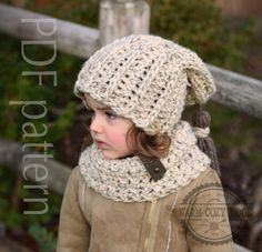 CROCHET PATTERN Hat and cowl set sizes: baby by WARMcosyWOOLeu