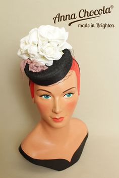 1940s 50s Burlesque PILLBOX HAT Black White Ivory ROSES Anna Chocola Brighton