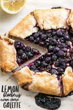 This rustic Lemon Blueberry Cream Cheese Galette is a simple dessert that can be made with frozen or fresh berries. Easier than pie! Dessert Simple, Köstliche Desserts, Dessert Recipes, Blueberry Desserts, Tart Recipes, Cooking Recipes, Vegan Recipes, Brownie Recipes, Salad Recipes