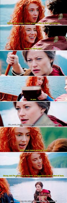 """""""Without the wisps. I need another way to find my brothers. And that other way... is you"""" - Merida and Belle #OnceUponATime"""