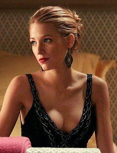 Serena van der Woodsen (Blake Lively) wears a Ralph Lauren dress and Badgley Mischka earrings.