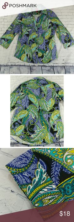 212 Collection Woman's XS Button Down Shirt This listing is for a very pretty stretch cotton spandex blend button down shirt from 212 Collection Woman in a size XS. ?The shirt is done in a paisley print design in blue, teal, black, yellow/green, white, etc... and has 3/4 length sleeves. ?It has a folded collar and a slight V-neckline leading down to the buttons. The shirt rounds up at the bottom sides and is in good pre-owned condition with gentle wear. 212 Collection Tops Button Down Shirts