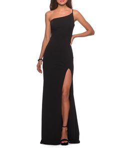 Smooth and sultry, this jersey gown flows from a single shoulder to a pooled hemline, framing your beautiful back and a lovely length of leg along the way. Style Name:La Femme One-Shoulder Jersey Gown. Style Number: Available in stores. Cute Prom Dresses, Prom Outfits, Gala Dresses, Dance Dresses, Elegant Dresses, Bridesmaid Dresses, Fashion Outfits, Chiffon Dresses, Black Evening Dresses