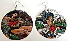 Wonder Woman Upcycled Comic Earrings