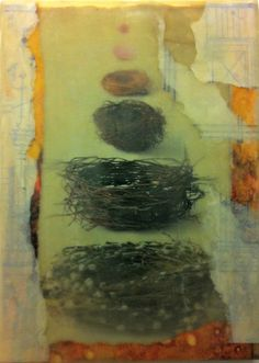 Encaustic  Beeswax  Collage  Mixed Media Nests by BigGirlArt, $40.00