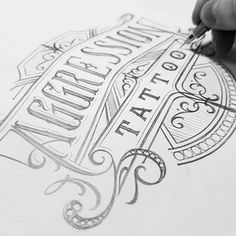 Logo sketch for Aggression Tattoo, more to see on my new projrct on Behance snd my website, Handletteted Logotypes 2015-2016 #handlettering #lettering #logo #design #branding #project #typography #calligraphy #customlettering