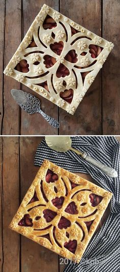 Creative Cakes, Creative Food, Tart Recipes, Dessert Recipes, Just Desserts, Delicious Desserts, Beautiful Pie Crusts, Pie Crust Designs, Pie Decoration