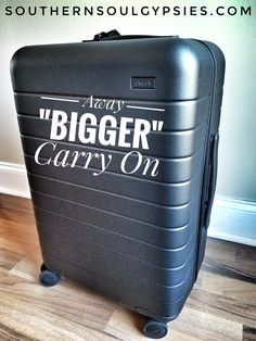 """Want to maximize you carry-on capabilities? Check out our review of Away's """"Bigger"""" carry-on. #away #airport #luggage #carryon #batterycharger #review #travel #tsa"""
