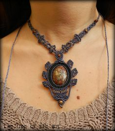 Handmade macrame necklace with Leopard Skin by TheTreeOfLifeArt