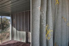 Elodie Blanchard Curtain - Grey felt accordion with hole punch and yellow embroidery