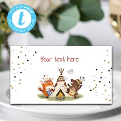 Tribal Wild One Food Card, Boho Woodland Animals, Party Instant Download Printable Template Editable YOU PRINT Wild Ones, Woodland Animals, Meals For One, Printable, Place Card Holders, Templates, Boho, Birthday, Handmade Gifts