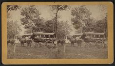 Several young women in a horse-drawn omnibus at the tower on Talcott Mountain