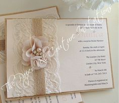 Danica - Vintage Lace, Burlap & Kraft - Rustic Garden Blush Pink Bridal Shower, Baby Shower or Wedding  Invitation - Burlap and Lace by thepaperveilcouture on Etsy https://www.etsy.com/listing/200946687/danica-vintage-lace-burlap-kraft-rustic