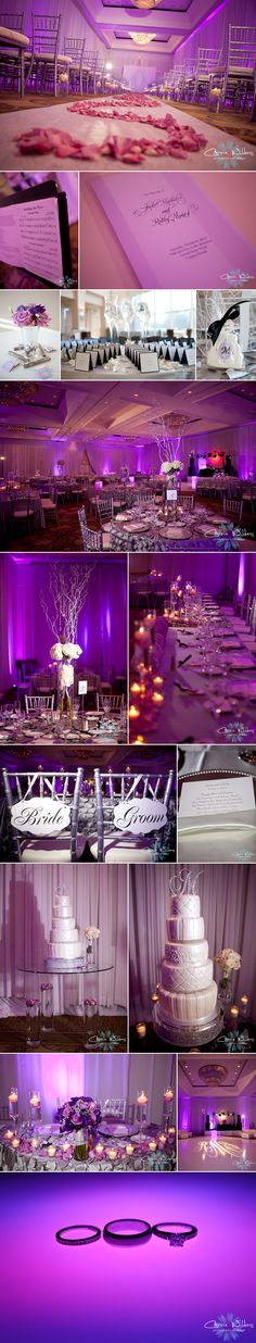 #wedding #details uplighting #pink #gray #purple