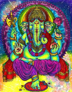 Secret Symbolism of Ganesha in Hinduism by Psychedelic Adventure Arte Ganesha, Lord Ganesha, Jai Ganesh, Yoga Studio Design, Ganesha Story, Om Gam Ganapataye Namaha, Ganesh Aarti, Wallpaper Fofos, Buddha