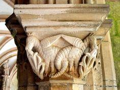Interlocking dragons, stone column, cloisters, Alcobaça monastery, Portugal