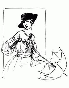1917 Vogue Magazine Fashion Sketch