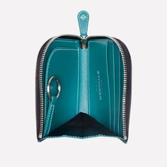 Ettinger London - Luxury Leather Goods - Sterling Zipped Curved Wallet with a Key Strap in Turquoise