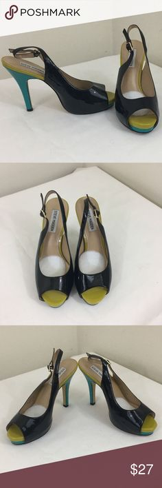 Steve-Madden-black-turq-yellow-heels-sz7-5 Good Pre-Owned - Item appears to be in good pre-owned condition with some light wear on the soles. A few nicks on top of heels. Brand: Steve Madden  Size:	7.5  Material: 	Man Made  Type : 	Heels  Condition: 	Good Pre-Owned - Item appears to be in good pre-owned condition with some light wear on the soles and body. No noticeable holes, rips or stains.  Approximate Measurements	  Heel to toe: 	7''  Width: 	3''  Heel height: 	5''  Please see all…