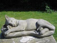 Dragonstone Sleeping Cat Statue   Pet Memorial From Surrey Ornamental  Stoneware