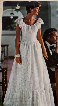 1970s Sleeveless Evening Dress  Vogue 1043 UNCUT Bust 38 Oscar De La Renta Sewing Pattern by BluetreeSewingStudio on Etsy
