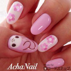 4月MYネイル☆マイメロ&キティちゃん☆ http://ameblo.jp/acha-nail/entry-11822304179.html