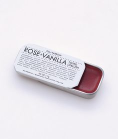 ROSE+VANILLA LIP BLUSH is a delicately flavored rose-tinted blushing balm for lovelier lips. highly nourishing, protective and softening organic plant oils, butters and waxes naturally tinted with alk
