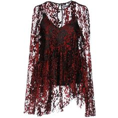 Opening Ceremony Blouse ($216) ❤ liked on Polyvore featuring tops, blouses, red, glitter blouse, velvet blouse, glitter top, red long sleeve top and red velvet blouse