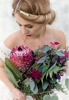 Visit the post for more. Bouquet Bride, Bride Hair Flowers, Bridal Flowers, Flor Protea, Protea Flower, Exotic Wedding, Boho Wedding, Dream Wedding, Wedding Ideas