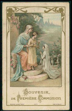 Antique HOLY CARD Vintage Communion chalice girl pray Bouasse Jeune