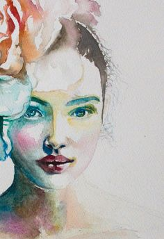 Watercolor Print. Wall art portrait of beautiful by TatyanaIlieva