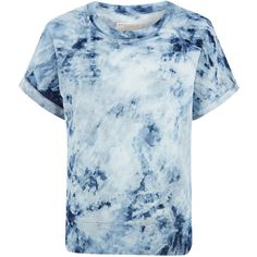 Current/Elliott Blue Tie Dye Short Sleeve Sweatshirt ($290) ❤ liked on Polyvore featuring tops, hoodies, sweatshirts, shortsleeve sweatshirts, sweat shirts, boxy sweatshirt, blue top and short sleeve sweatshirts