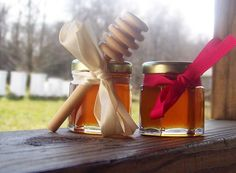Raw Honey Wedding Favors! ~ I LOVE THAT! ~  annnnnd, you can see her Langstroth hives in the background of the picture. <3