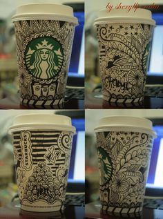 I want to do something like this to my reusable cup! Starbucks Cup Design, Starbucks Art, Starbucks Rewards, Art Class Rules, Copo Starbucks, Coffee Cup Art, Sharpie Art, Pictures To Draw, Teaching Art