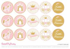 Download the Prettiest Free Little Princess Party Printables - Party Circles. See more party ideas and share yours at CatchMyParty.com #catchmyparty #partyideas #princessparty #freeprinatbles #freeprincessprintables #girlbirthdayparty #princesspartycircles #princesscupcaketoppers