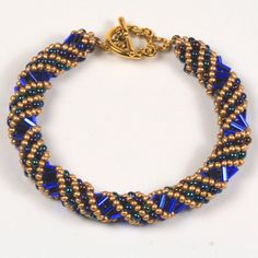 Spiral Bracelet with Colbalt Bugle Beads