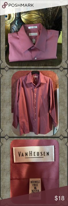 Van Heusen Regular-Fit Lux Sateen Dress Shirt NWOT. Well-dressed man. Look your best in this handsome men's Van Heusen dress shirt that's sure to become a formal favorite. No-iron fabric blend resists wrinkles. Large.  Spread collar flares to accommodate wider tie knots Button front 1-pocket Long sleeves Regular fit features relaxed arm holes, regular body and traditional sleeve openings. Van Heusen Shirts Dress Shirts