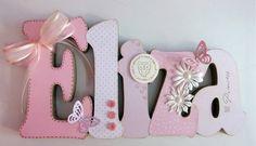 Nome em MDF, decorado em papel de scrap. Pode ser utilizado para decorar quarto, porta de maternidade e festa infantil. fazemos nas cores desejadas. R$ 56,00
