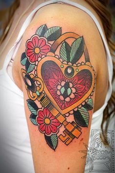 Traditional heart, lock, and key