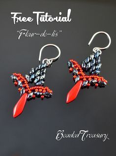 Fleur-de-lis Earrings with superduos and dagger ~ Seed Bead Tutorials
