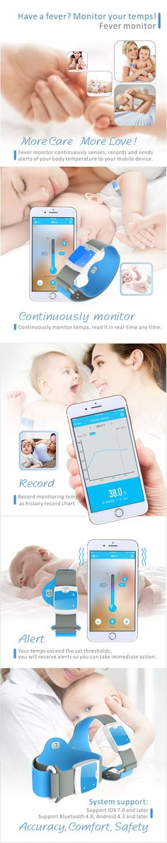 Vvcare Smart Medical Thermometer Bluetooth Wireless Continuous Fever Monitoring with Mobile Alerts for Baby Monitor, Bluetooth, Smartphone, Home And Garden, Medical, Electronics, Baby, Medicine, Baby Humor