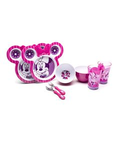 Another great find on #zulily! Minnie Mouse Eight-Piece Dinnerware Set by Minnie Mouse #zulilyfinds