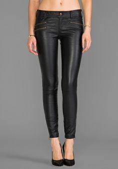 FREE PEOPLE Skinny Vegan Leather Pant in Black - Leather