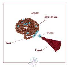 o japamala é composto por várias partes, entre elas as contas, o meru, os nós, os marcadores e o tassel Mala Necklace Diy, Diy Jewelry, Handmade Jewelry, Yoga Mala, Book Of Shadows, Couture, Statement Jewelry, Handmade Bracelets, Wicca