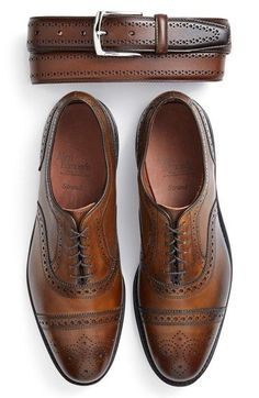 Allen Edmonds Brogue Leather Belt & Cap Toe Oxford (Men) available at #Nordstrom