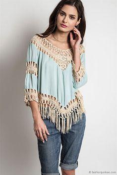 Fringe Boho V-Neck 3/4 Sleeve Crochet Tunic Top-Mint - IN STOCK!